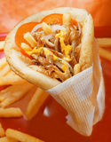 Gyros pita. Gyros pita with french fries aside Royalty Free Stock Image