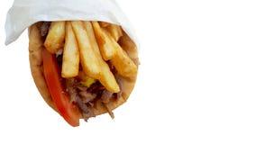Gyros Pita, mediterranean street food on white Stock Photo