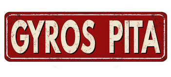 Gyros pita vintage rusty metal sign Stock Photos