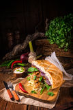 Gyros pita with wild garlic. A tasty Gyros pita with wild garlic stock photography