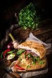 Gyros pita with wild garlic stock images