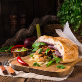Gyros pita with wild garlic royalty free stock photo