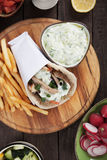 Gyros pita wrapped sandwich Royalty Free Stock Photo