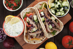 Gyros pita wrapped sandwich Royalty Free Stock Image