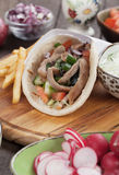 Gyros pita wrapped sandwich Stock Photography