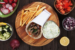 Gyros pita wrapped sandwich Royalty Free Stock Photography