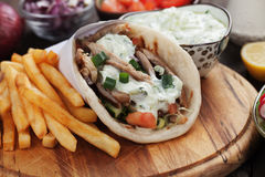 Gyros pita wrapped sandwich Stock Images