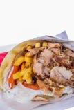 Gyros with pork tzatziki and french fries Royalty Free Stock Photos