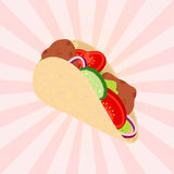 Gyros tasty fast food. Grilled meat, Greece fastfood. Flat style. Royalty Free Stock Image
