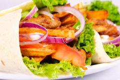Gyros time. Selective focus on the content of gyros Royalty Free Stock Photos