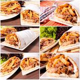 Gyros time. Prepared gyros ready to be served Royalty Free Stock Photography