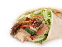 Gyros in tortilla. On white Stock Images