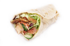 Gyros in tortilla. On white Royalty Free Stock Photography