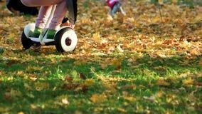 Gyroscooter di guida del bambino sull'erba stock footage