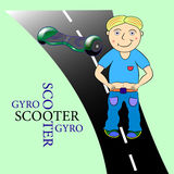 Gyroscooter illustration. Gyroscooter  illustration cartoon  character Stock Images