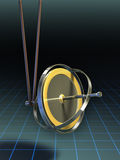 Gyroscope equilibrium. Gyroscope stands in equilibrium suspended by a string. Digital illustration, clipping path included to isolate string and gyroscope from Stock Photo