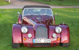Classic Morgan car. Gysinge, Sweden - September 1 2018: Mog east autumn event with calssic Morgan cars in a rov on September 1, 2018 in Gysinge, sweden stock photos