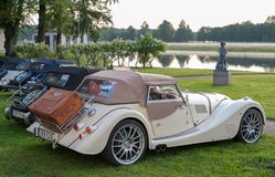 Classic Morgan car. Gysinge, Sweden - September 1 2018: Mog east autumn event with calssic Morgan cars in a rov on September 1, 2018 in Gysinge, sweden stock image