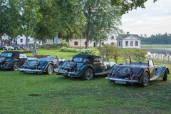 Classic Morgan car. Gysinge, Sweden - September 1 2018: Mog east autumn event with calssic Morgan cars in a rov on September 1, 2018 in Gysinge, sweden royalty free stock photos