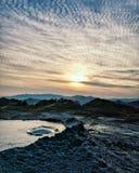 Gyttjavulkan i Rumänien Selenar landskap arkivfoto