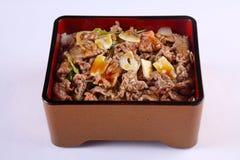 Gyudon - το ιαπωνικό κύπελλο βόειου κρέατος στο άσπρο υπόβαθρο, ανακατώνει το j Στοκ Εικόνα