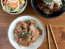 Gyudon and Buta Don: Japanese beef or pork and rice bowls with salad. Top view of Gyudon and Buta Don: Japanese beef or pork and rice bowls with salad royalty free stock images