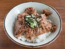 Gyudon: Japanisches Rindfleisch und Reisschalen mit Salat Stockbild
