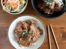 Gyudon und Buta Don: Japanisches Rindfleisch oder Schweinefleisch und Reisschalen mit Salat Lizenzfreie Stockbilder