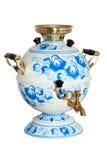 gzhel被绘的俄国俄国式茶炊下 库存照片