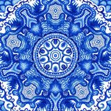 Gzhel вектора акварели Картина шнурка Doily круглая, backgr круга Стоковая Фотография RF