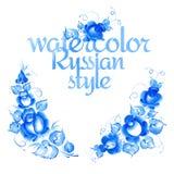 Gzhel-Art-Blumenrahmen Lizenzfreies Stockfoto