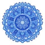 Gzhel do vetor da aquarela Teste padrão redondo do laço do Doily, backgr do círculo ilustração stock