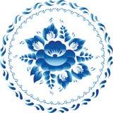 Gzhel för stil för ryss för vit- och blåttprydnadblommor traditionell cirkel Fotografering för Bildbyråer