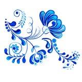 Gzhel Fleur et branches bleues d'isolement par dessin d'aquarelle Traditions russes, élément floral Images libres de droits