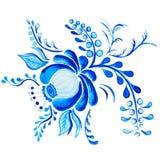 Gzhel Flor y ramas azules aisladas dibujo de la acuarela Tradiciones rusas, elemento floral Fotos de archivo libres de regalías