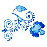 Gzhel Flor y ramas azules aisladas dibujo de la acuarela Tradiciones rusas, elemento floral Imagen de archivo