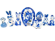 Gzhel keramisk uppsättning Fotografering för Bildbyråer