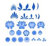 Gzhel malował set elementów liście i kwiaty Rosyjski naród Zdjęcie Royalty Free