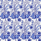 Gzhel motif background. Seamless pattern of Chinese or Russian porcelain painting with small blue flowers and leaves. Royalty Free Stock Photos