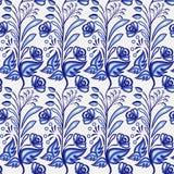 Gzhel motivbakgrund Sömlös modell av kinesisk eller rysk porslinmålning med små blåttblommor och sidor Royaltyfria Foton