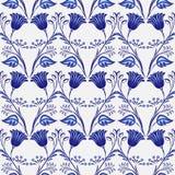 Gzhel naadloos patroon Naadloze achtergrond van blauwe bloemen en installaties Het Chinese of Russische porselein schilderen royalty-vrije illustratie