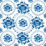 Gzhel ornamentu Bezszwowy wzór z błękitów liśćmi i kwiatami wektor Zdjęcie Royalty Free
