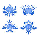 Gzhel painted set of elements Flowers and leaves. Russian nation Stock Image