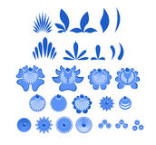 Gzhel painted set of elements Flowers and leaves. Russian nation Royalty Free Stock Photo