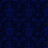 Gzhel`s national style of a ornament on black background. A seamless pattern. royalty free illustration