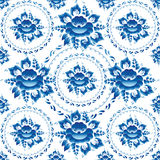 Gzhel Seamless ornament pattern with blue flowers and leaves. Vector Royalty Free Stock Photo