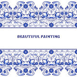 Gzhel style background. Border pattern of Chinese or Russian porcelain painting. Royalty Free Stock Photos