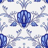 Gzhel style background. Seamless pattern of Chinese or Russian porcelain painting with large blue flowers. Vector illustration stock illustration