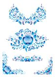 Gzhel style traditional russian ornaments with blue flower on white background royalty free stock photo