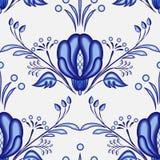 Gzhel stylu tło Bezszwowy wzór Chiński lub Rosyjski porcelana obraz z wielkimi błękitnymi kwiatami ilustracji